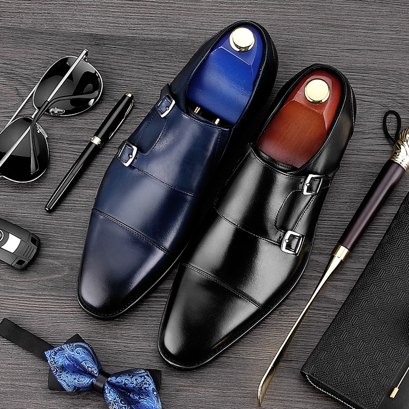 2017 Vintage Man Formal Dress Monk Straps Shoes Male Genuine Leather Handmade Oxfords Pointed Toe Men