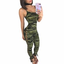 b8d205369a0 camouflage Print Side Lace UP Spaghetti Strap Jumpsuits Overalls Summer women  fashion Casual bodycon bandage Sexy Rompers 7419