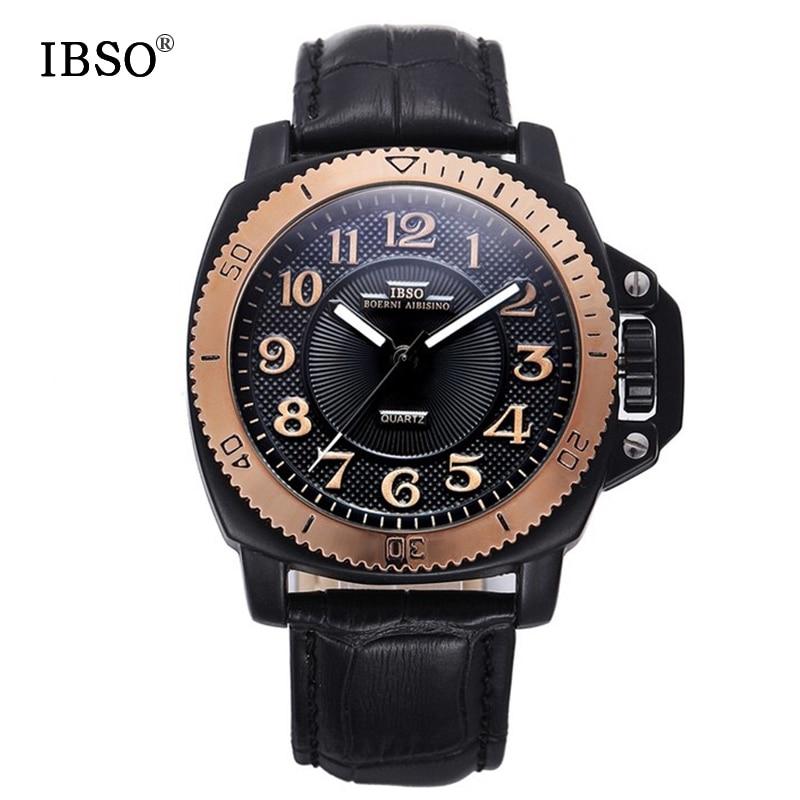 IBSO 브랜드 패션 스포츠 시계 남자 진짜 가죽 밴드 - 남성 시계 - 사진 1