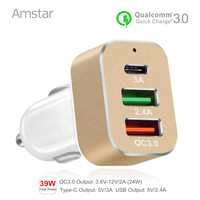 Amstar USB-C Typu C & Szybkie Ładowanie Ładowarka Samochodowa Ładowarka Samochodowa USB 3.0-39 W Samochód Ładowarka do Telefonów komórkowych dla Sumsang QC3.0 Xiaomi Mi5 S8