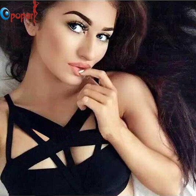 Comercio al por mayor 2016 nuevas mujeres de la manera negro correa del recorte de la moda sexy blusa entallada vendaje HL436 dropshipping
