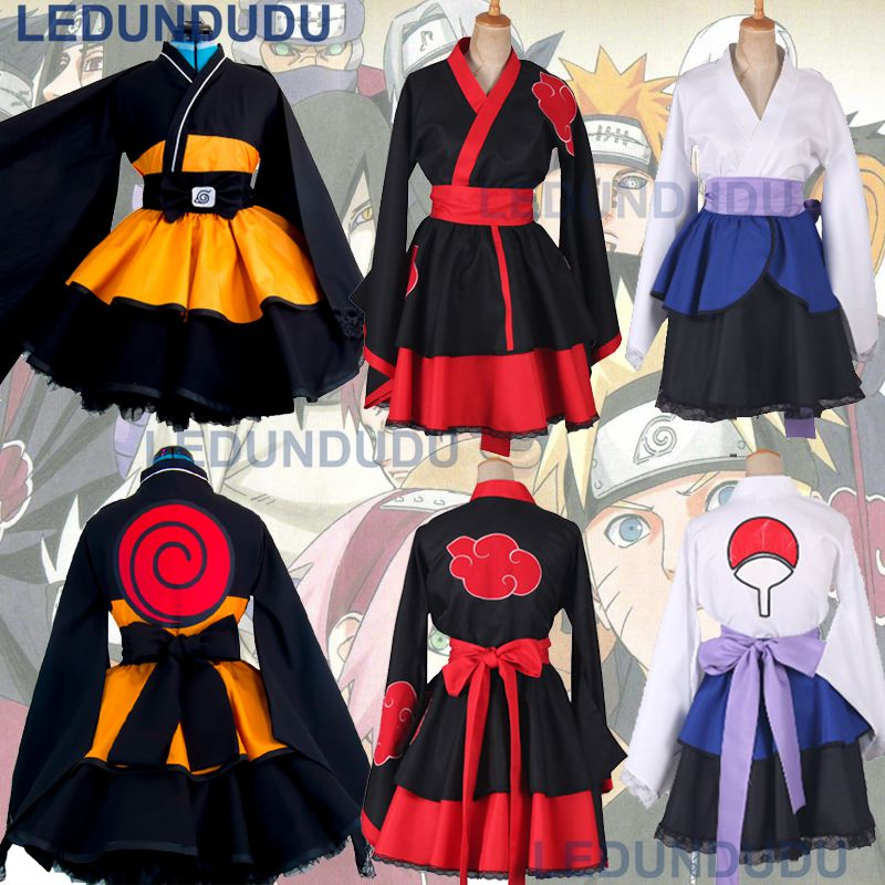 Customized Naruto Cosplay Costume Uzumaki Naruto Lolita Clothes Suit Uchiha Sasuke Kimono Dress Akatsuki Lolita Dress for Women