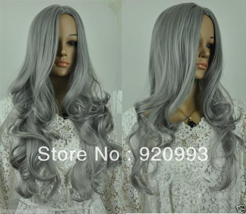 Clever Natural Wig Beautiful Mixed Heating Curly Cosplay Mother's Silver Gray Long Curly Fibre Blended Hair None Lace Wigs To Win Warm Praise From Customers