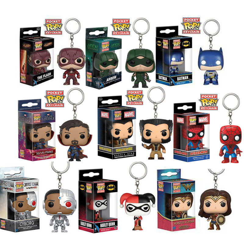 FUNKO POP DC Comic Caracteres Tema Keychain Batman Mulher Maravilha Halle Flash Brinquedos pvc Action Figure Collectible Modelo toy Dolls