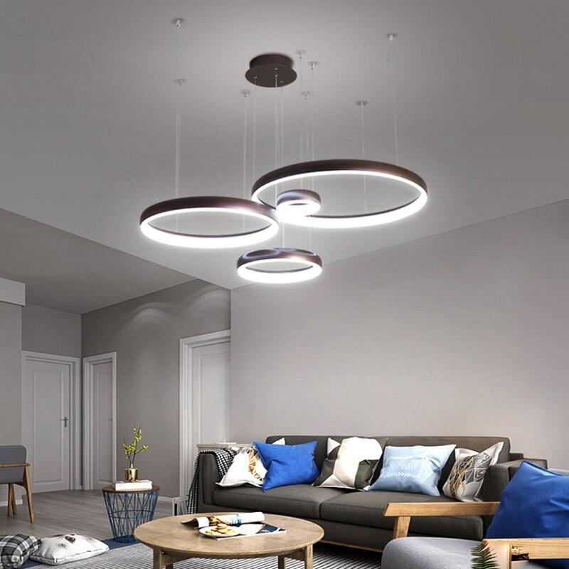 Circel Ring Modern Led Pendant Lights For Living Room Dining Room Shop Bar White/Coffee Color Hanging Pendant Lamp Żyrandol