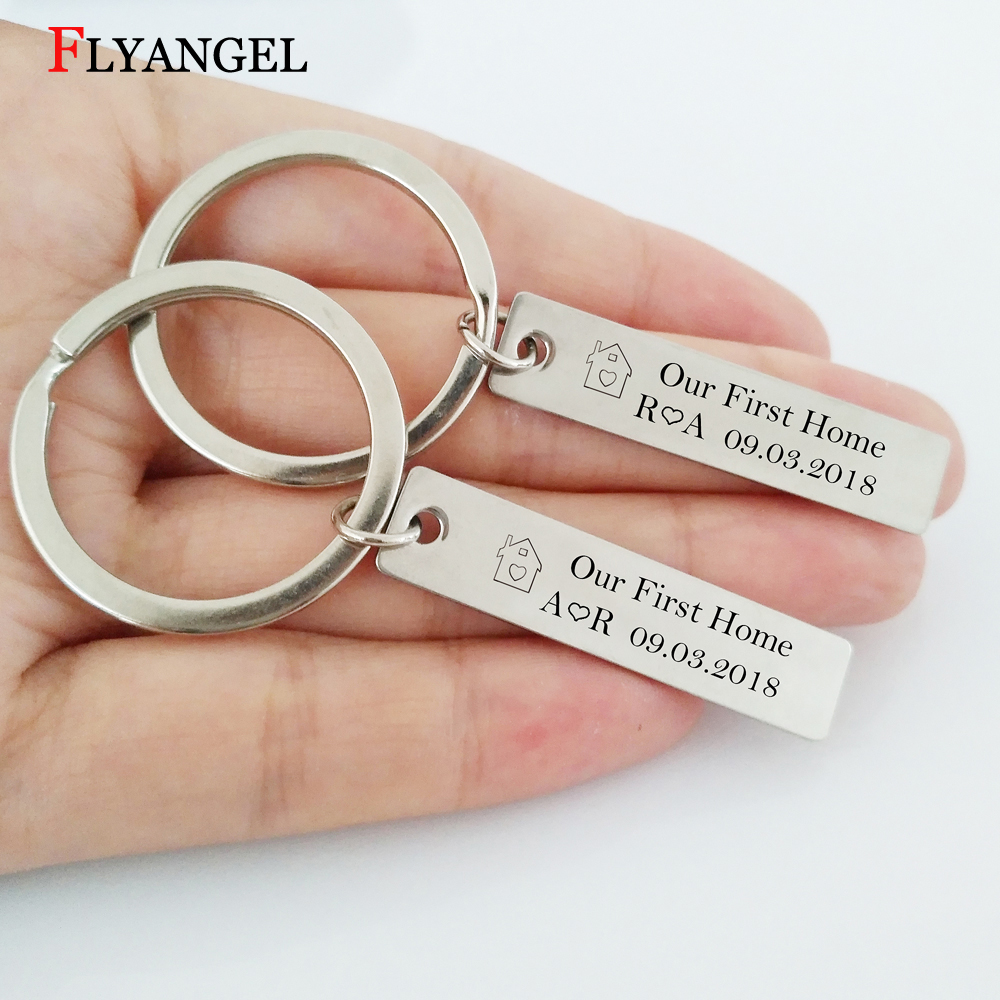 1 Pair Creative Fashion House Print Our First Home Couple Keychain Customized Initials and Date Lovers Key Chain Keyring Gifts