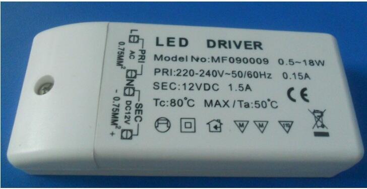 10PCS 18w առաջատար վարորդ dc 12V ելքային 1.5A Էլեկտրաէներգիայի ադապտեր Էլեկտրաէներգիայի մատակարարում լամպի լույսով առաջնորդվող ժապավենի լուսավորության համար