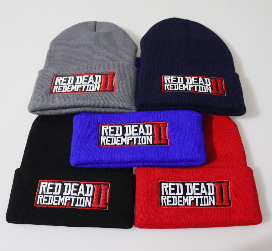 2019 Game Red Dead Redemption 2 Beanie Hat Cosplay Cap Winter Knitted  Red Dead Redemption 2 Embroidery Women Men Adult