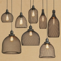 LOFT Vintage Lanterns black Pendant Lights Retro Industrial Iron Grid E27 Lamp for Restaurants Coffee Bar Dining Room Lighting