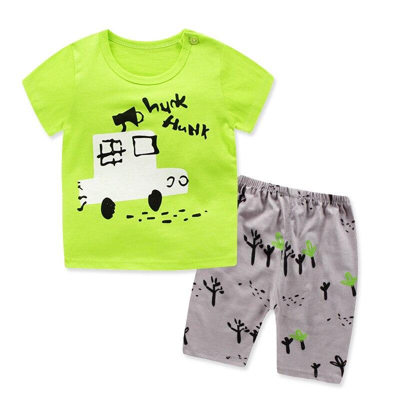 2 шт. костюм Одежда для маленьких мальчиков летний комплект одежды для маленьких мальчиков 2018 новые детские модные хлопковые милые комплекты футболка + шорты 1-3years