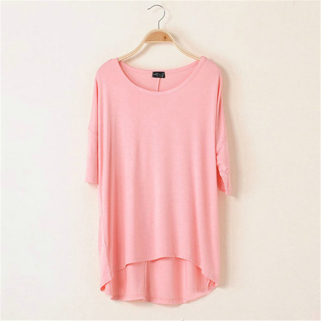 1 Piece Cotton Casual Women Oversized Batwing Short Sleeve T-shirts Loose Tops Tee 16 Colors