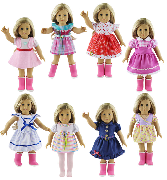 8 Set Doll Clothes for 18 Inch American Girl  A variety of the Princess Dress pink wool coat doll clothes with belt for 18 american girl doll