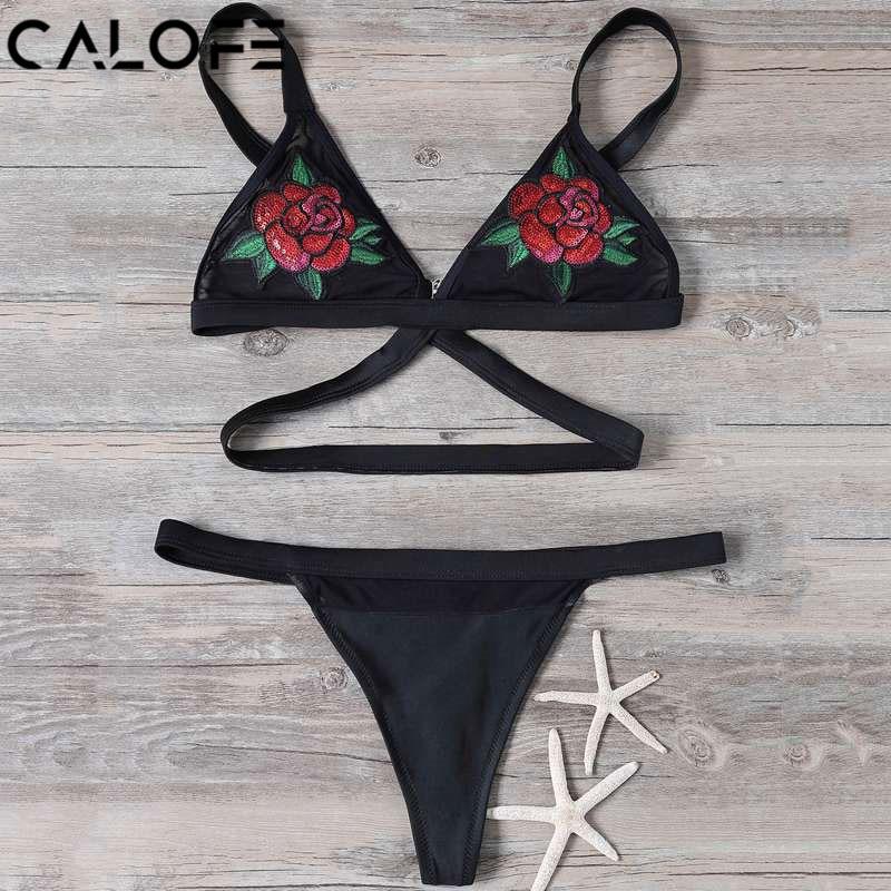 CALOFE Women Beach Bikini Set Printing Embroidery Swimwear Basic Bikini Swimsuit Sexy Thong Bottom Swimsuit Bathingsuit