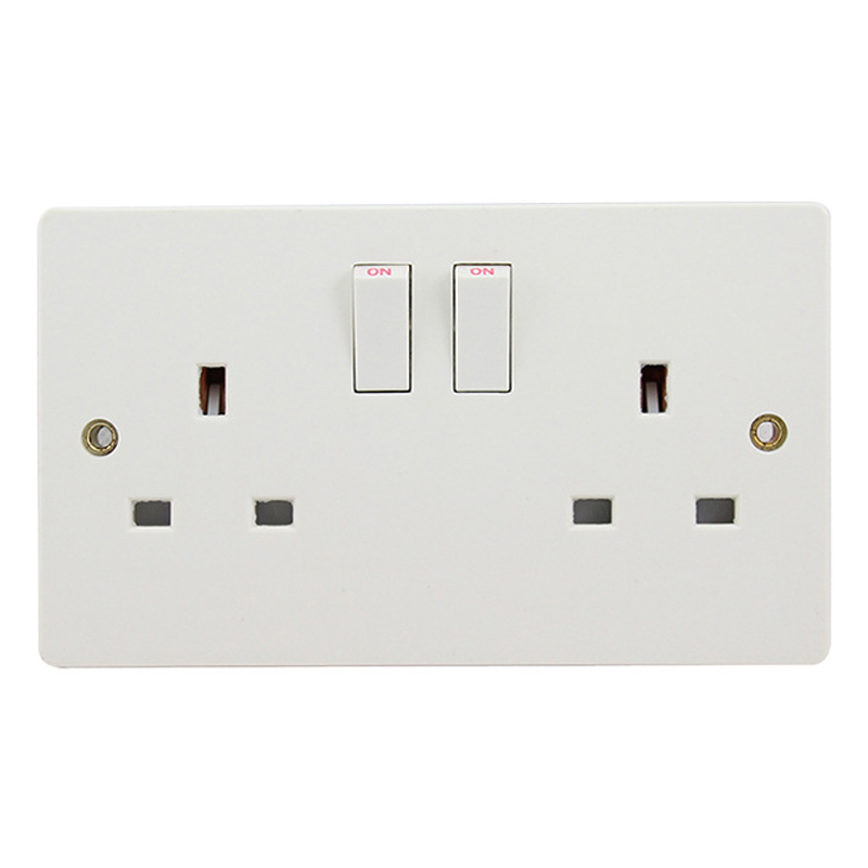 Wall Power Dual UK Socket Plug Grounded, 13A 250V British Standard Electrical Double Outlet Switch 146mm * 86mm uk socket wallpad crystal glass panel 110v 250v switched 13a uk british standard electrical wall socket power outlet uk with led