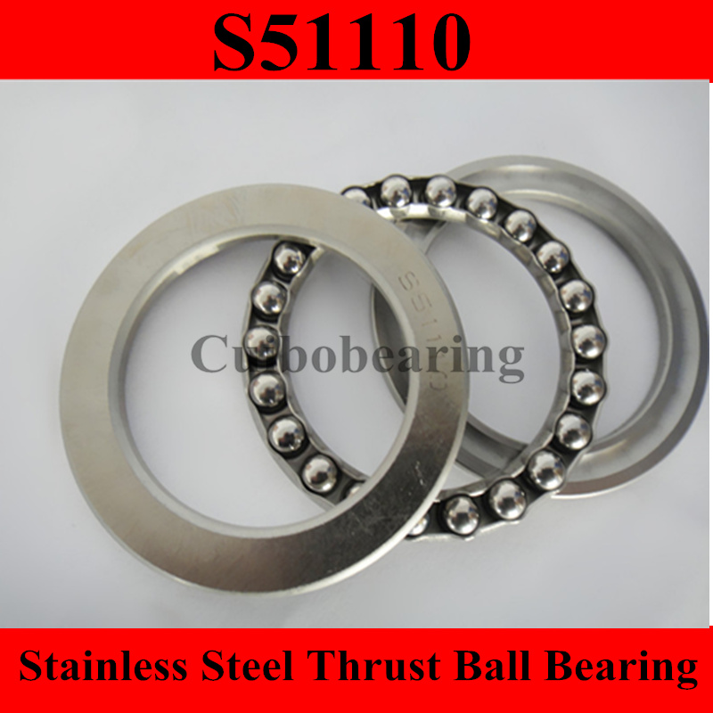 цены  Free Shipping 1PC S51110 50x70x14mm 50*70*14mm stainless steel thrust ball bearing