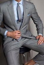 2017 Latest Coat Pant Design Smoking Grey Men Suit Terno Slim Fit 2 Piece Blazer Prom Suits Custom Tuxedo Masculino  jacket+Pant
