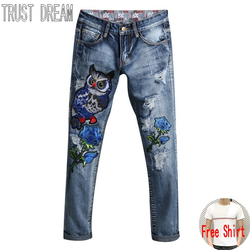 TRUST DREAM Europeans Designed Men Embroidered Owl Ripped Hole Blue Rose Jean Casual Distressed Slim Denim Man Fashion Jeans l jean camp trust