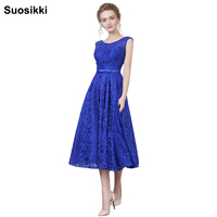 Suosikki 2018 New Arrival Formal Party Evening Dresses Vestido de Festa Lace Up Long Gown Lace Beads Tea length free shipping