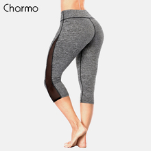 Charmo Women Yoga Pants Slim High Waist Sports Lace Mesh Gym Fitness Elastic Trousers Running Calf Length
