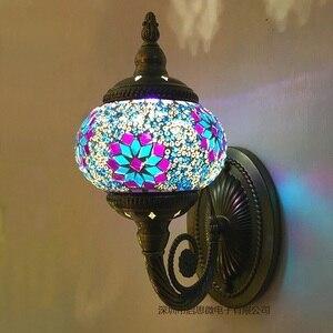 Image 4 - חדש הים התיכון סגנון אמנות דקו תורכי פסיפס מנורת קיר בעבודת יד פסיפס זכוכית רומנטי קיר אור
