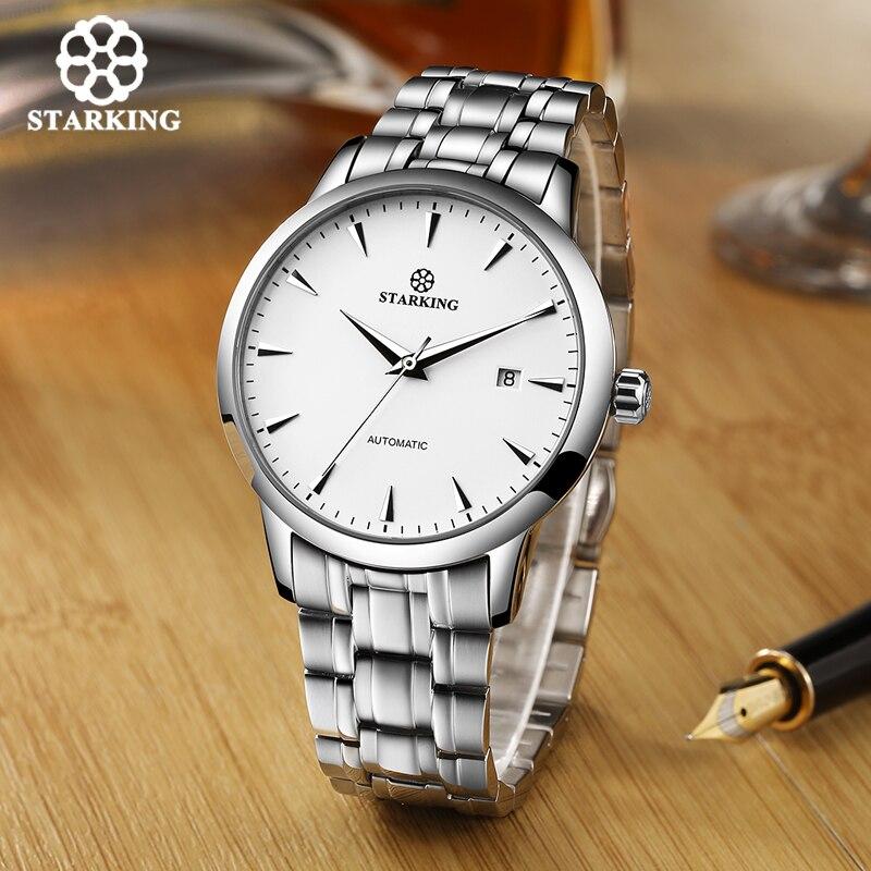 STARKING Original marque montre hommes automatique auto-vent en acier inoxydable 5atm étanche hommes d'affaires montre-bracelet montres AM0184 - 4