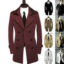 Отложной воротник тонкий сексуальный плащ мужское двубортное пальто с длинным рукавом мужская одежда деловая верхняя одежда casaco masculino