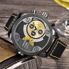 Casual PU Leather Strap Men s Watches Luxury Brand Fashion Military Wristwatch Oulm Watch with Double