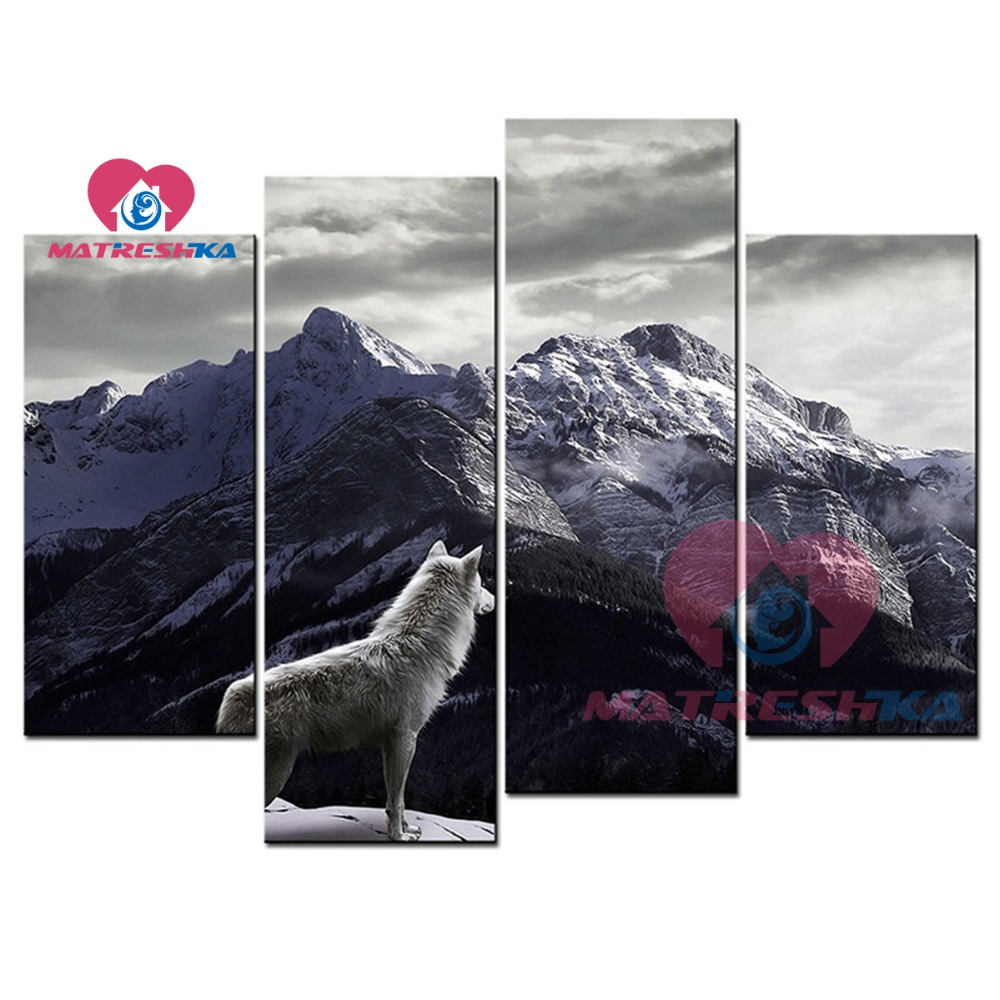 Diamond embroidery triptych picture wolf mountain 5d diy diamond painting Modular pictures Paintings rhinestones diamonds carftDiamond embroidery triptych picture wolf mountain 5d diy diamond painting Modular pictures Paintings rhinestones diamonds carft