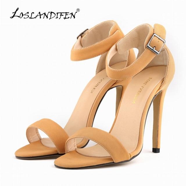 LOSLANDIFEN Womne Sandle Preto das Meninas Sexy FAUX SUEDE sapatos de Salto Alto Do Dedo Do Pé Aberto Tira No Tornozelo Cunhas Sandals US4-11 102-3SUEDE