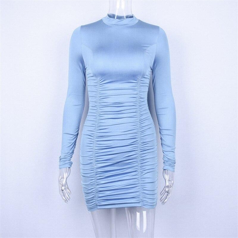 Весна 2019 Новое Женское однотонное платье с высоким воротом и длинными рукавами