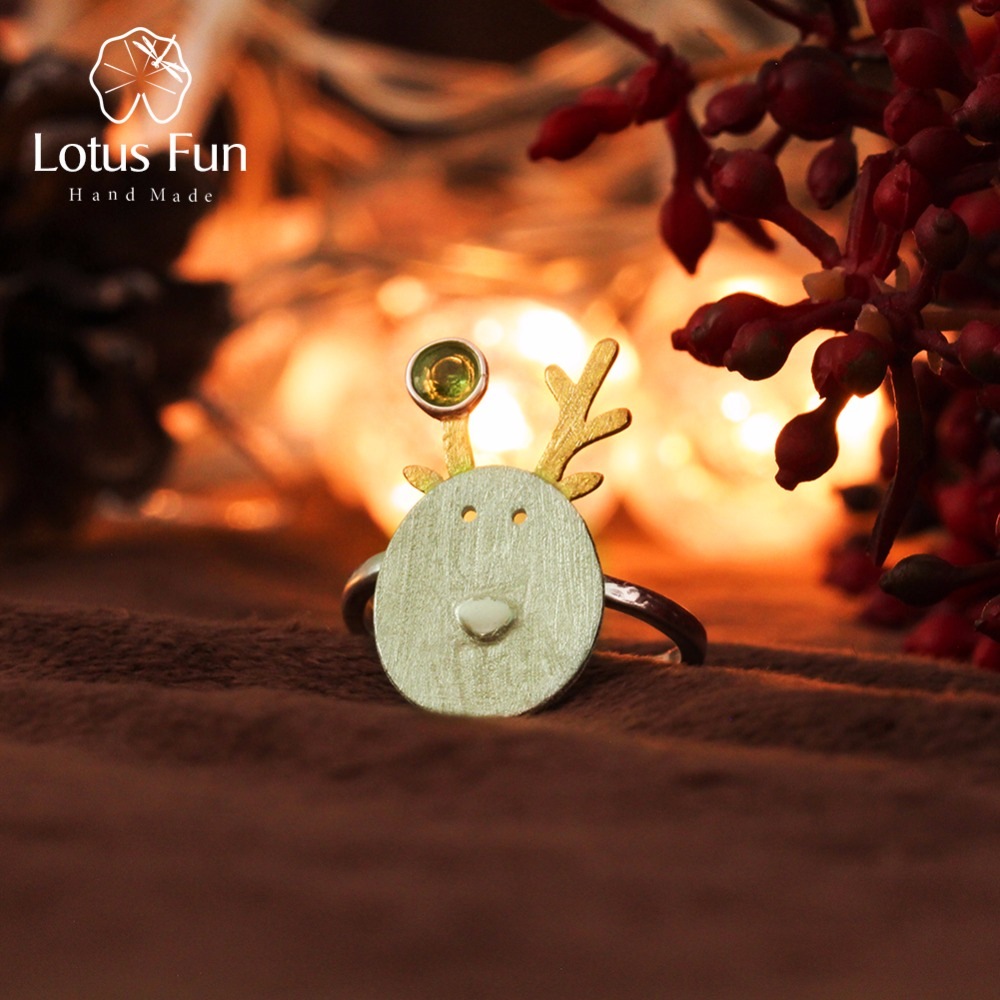 Lotus Spaß Echt 925 Sterling Silber Natürliche Turmalin Handgemachtes Feine Schmuck Weihnachten Freuden Nette Rentier Ringe Beste Geschenk Bijoux
