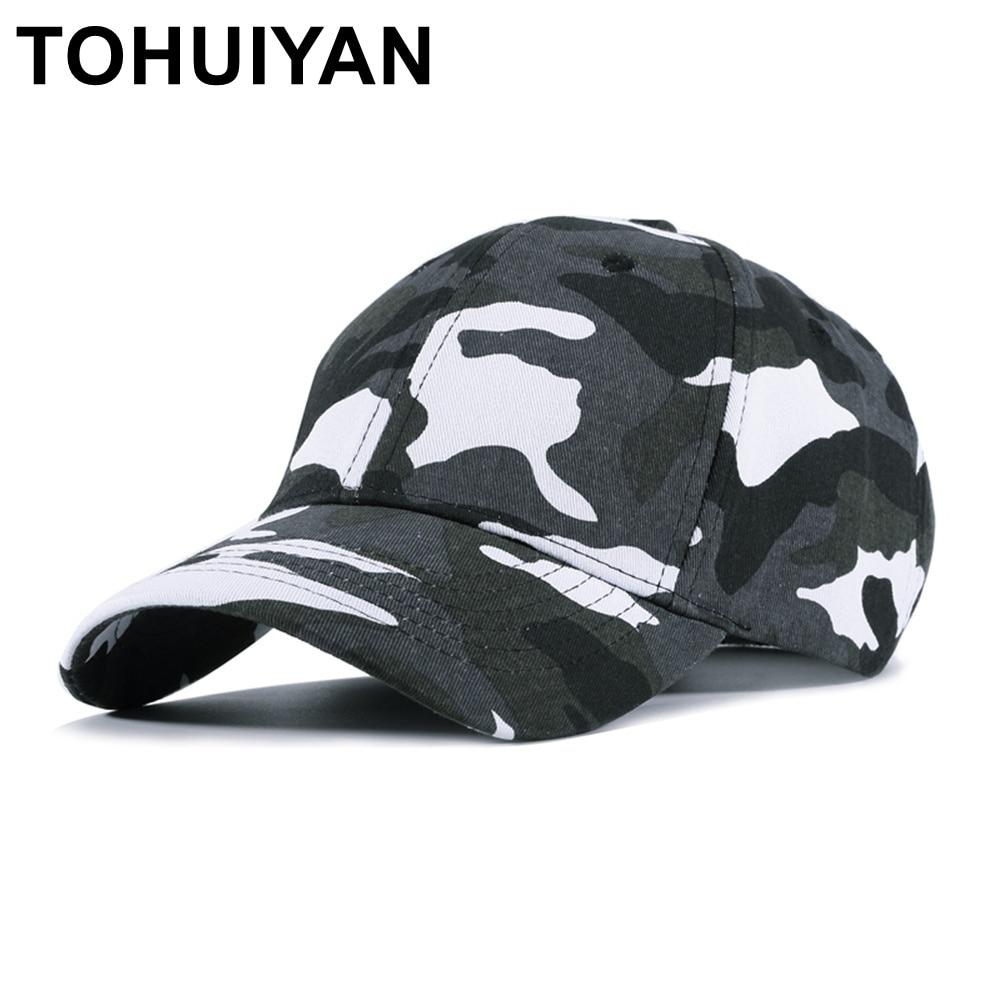 be824bb625e TOHUIYAN Men Women Camo Cotton Baseball Cap Tactical Army Camouflage Hat  Bone Masculino Dad Hats Casquette