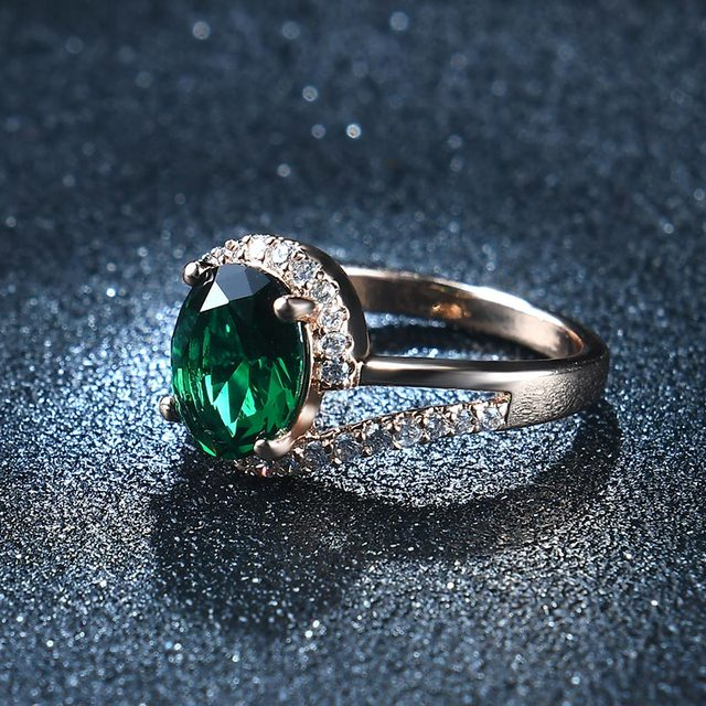 NEW 2017 AAA Zircon Green Crystals wedding rings for women rose gold color engagement rings female anel fashion Jewelry