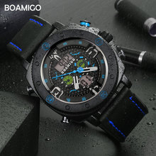 BOAMIGO Brand Men Sports Watches Fashion Quartz LED Digital Wristwatches Waterproof leather Clock Reloj Hombre relogio masculino