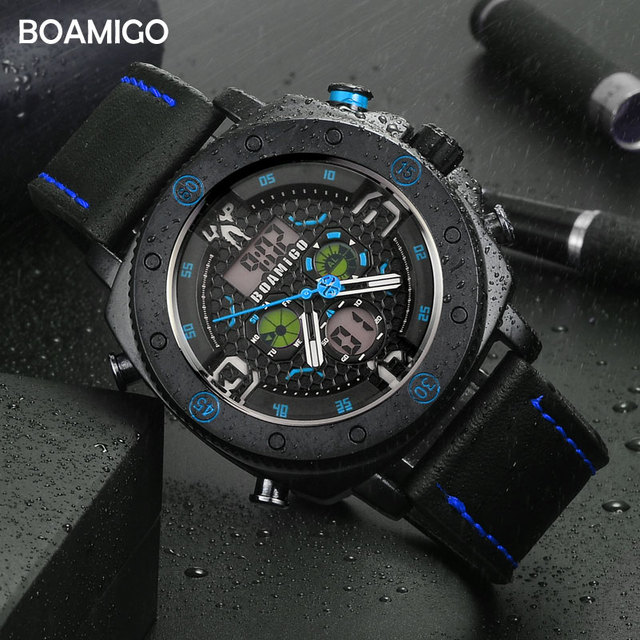 BOAMIGO Brand Men Sports Watches Fashion Quartz LED Digital Wristwatches Waterproof leather Clock Reloj Hombre relogio masculino