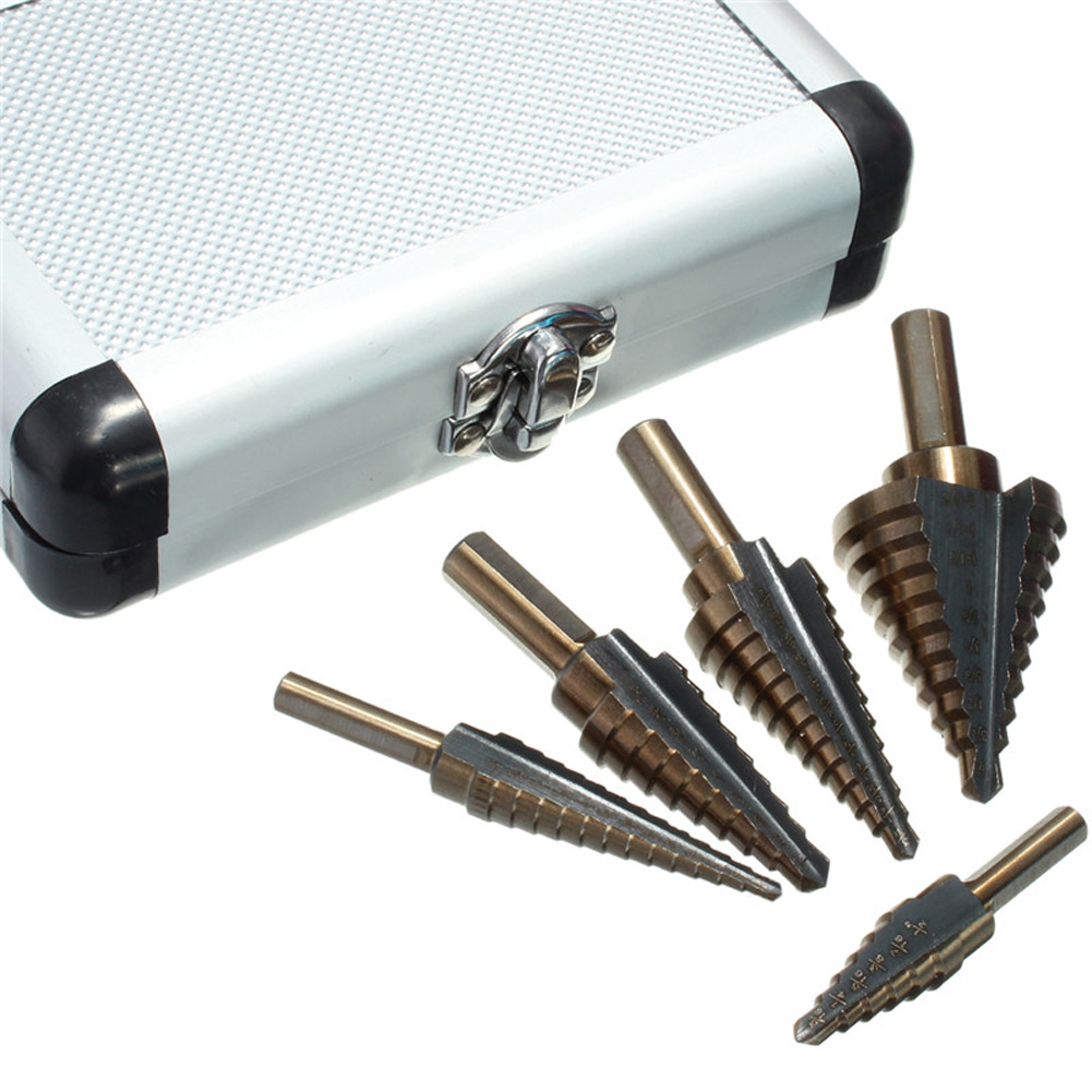 цена на 5pcs/Set HSS Cobalt Step Drill HSS Step Titanium Cobalt Multiple Hole Cutter Drill Bit With Aluminum Case Stepped Drill