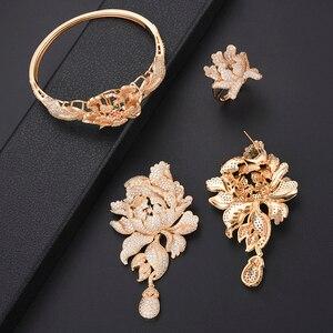 Image 5 - 4 Stuks Luxe Chrysant Zirconia Nigeriaanse Dubai Bruiloft Sieraden Sets Ketting Oorbellen Armband Ring Sieraden Voor Vrouwen