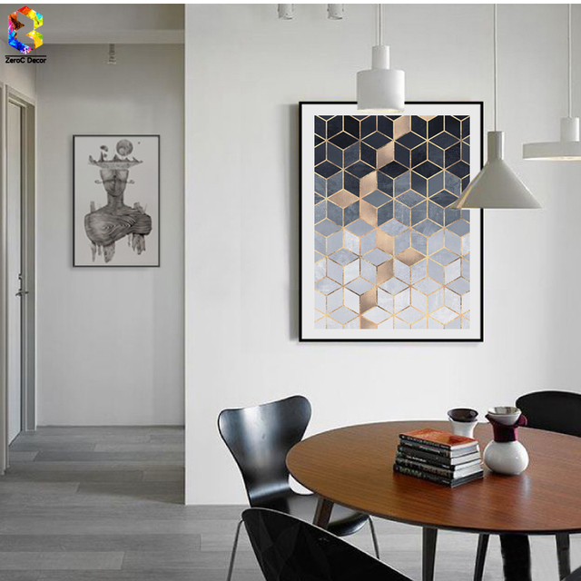 living room posters. Nordic Geometric Cube Art Posters and Prints Wall Canvas Painting  Pictures For Living Room Abstract
