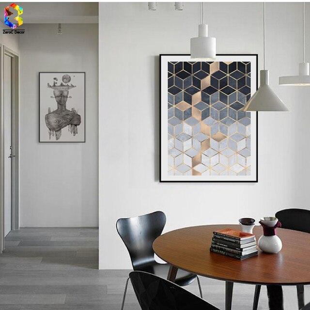 Nordic Geometric Cube Kunst Poster und Drucke Wandkunst Leinwand ...