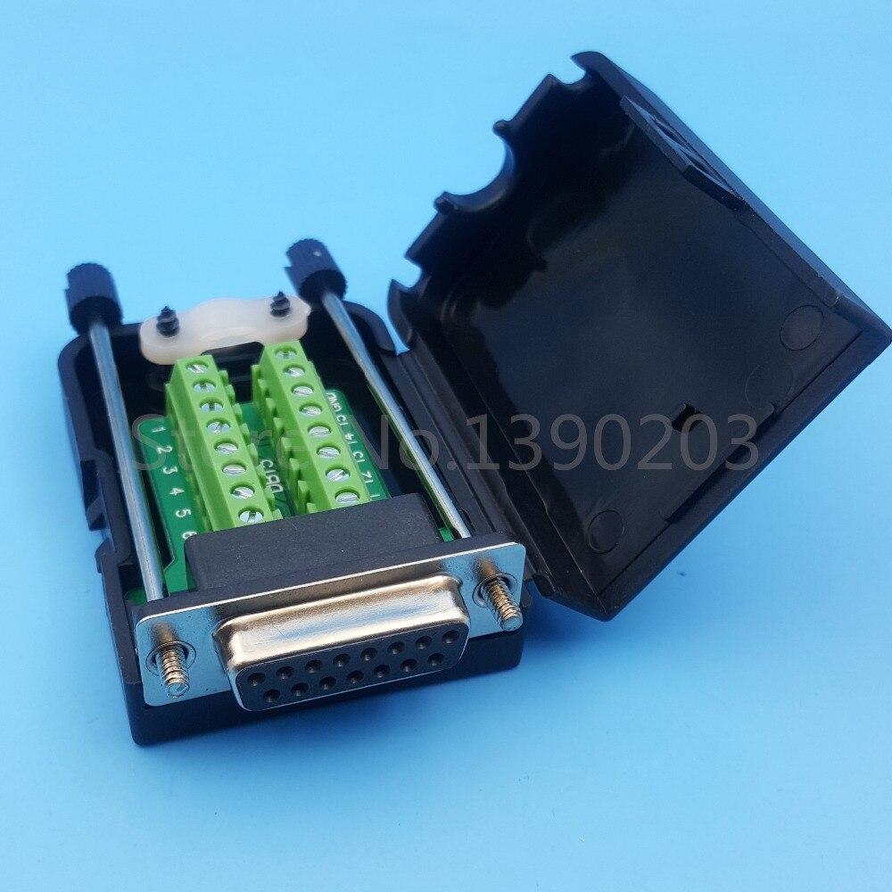 D-SUB DB15 2Row 15Pin Female Plug Breakout Board Terminals Connectors RH