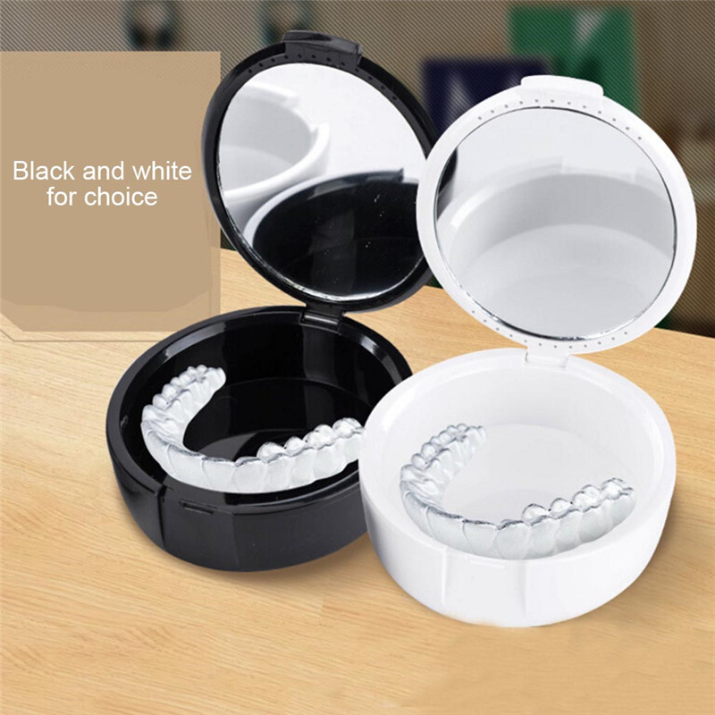 1pc Portable Denture Box Full Denture Soaking Case With Mirror Plastic Partial Denture Storage Box Dental Tools