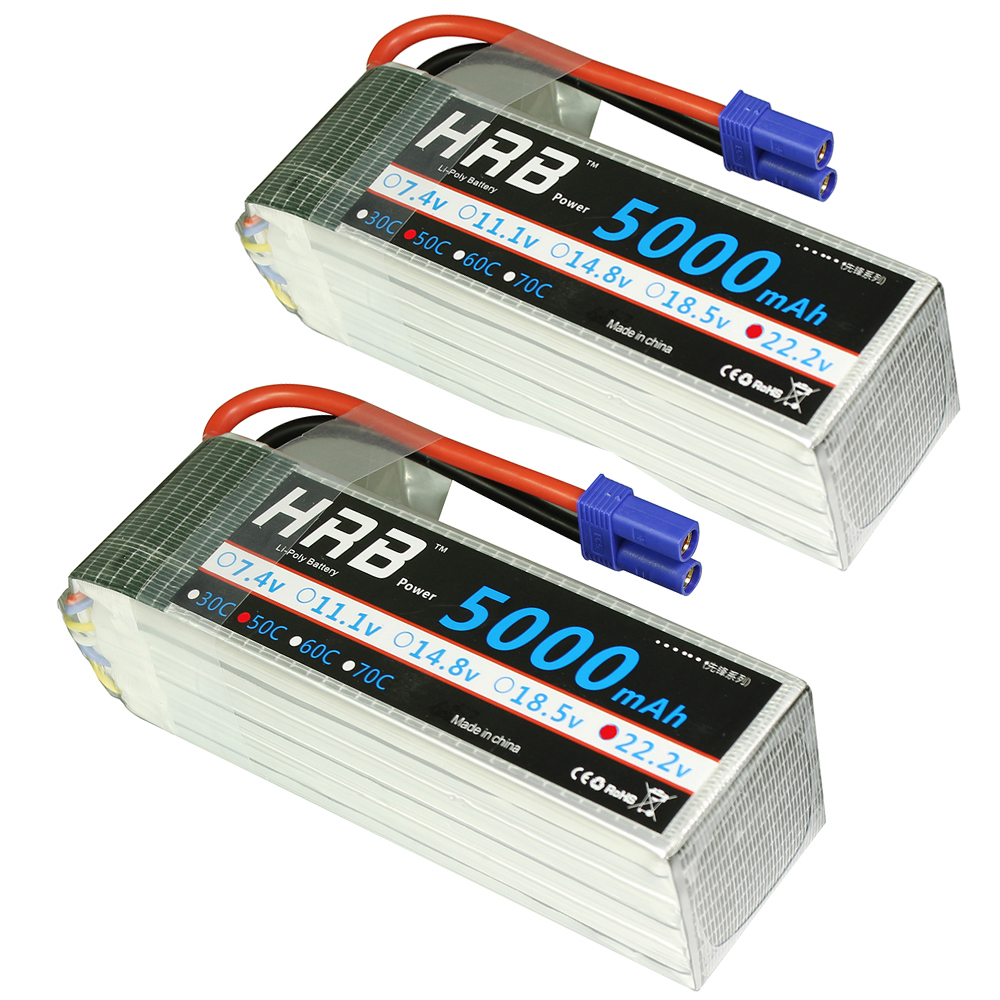 2pcs HRB 6S RC Lipo Battery 22.2V 5000mAh 50C 100C For Trex 700 800E Tarot 650 Quadcopter Helicopter Multicopter Drone