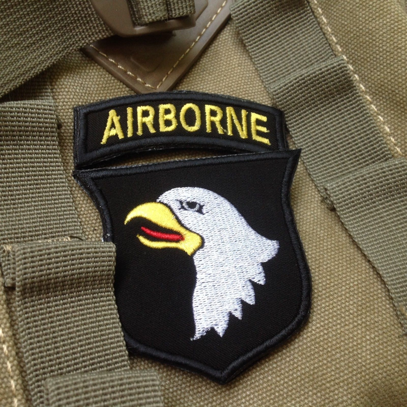 USA AIRBORNE Patch 101st Airborne Division 3D Embroidered Magic Sticker Hook&Loop Patch Badge Military Sticker