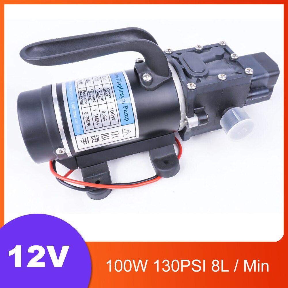 DC 12 V 100 W 130PSI 8L/Min agricole électrique pompe à eau noir Miniature haute pression diaphragme eau pulvérisateur lave-auto