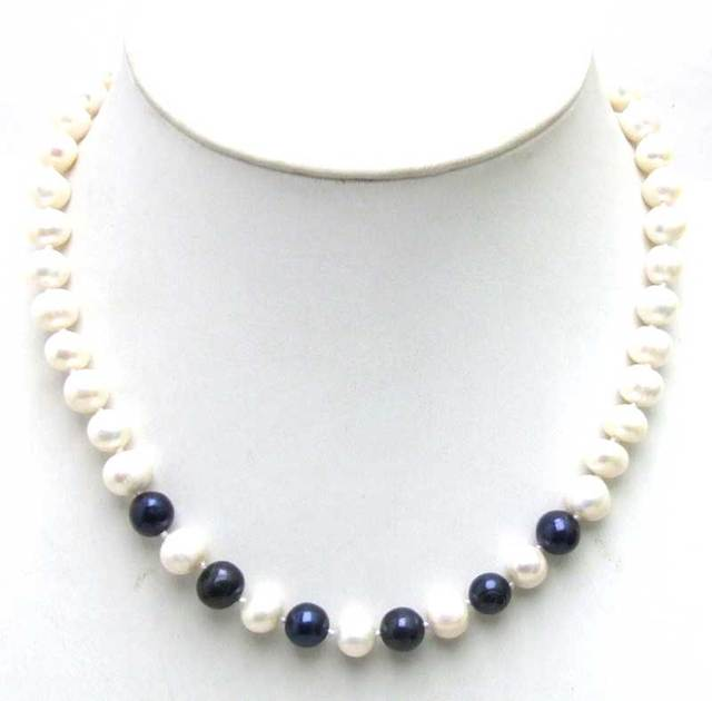 """SALE 6-7mm White Natural Freshwater Pearl with 6 pieces Black PEARL 17"""" Necklace -5902  Wholesale/retail Free ship"""