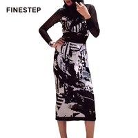 Осень зима комплект из двух предметов юбка Длинные рукава 2018 2 предмета в комплекте Для женщин юбка комплекты с выдалбливают