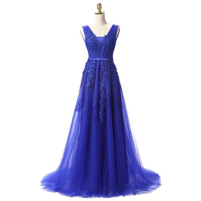 Robe De Soiree SSYFashion, кружевное, с бисером, сексуальное, с открытой спиной, длинное вечернее платье, для невесты, банкета, элегантное, длина до пола, для вечеринки, выпускного вечера - Цвет: Blue