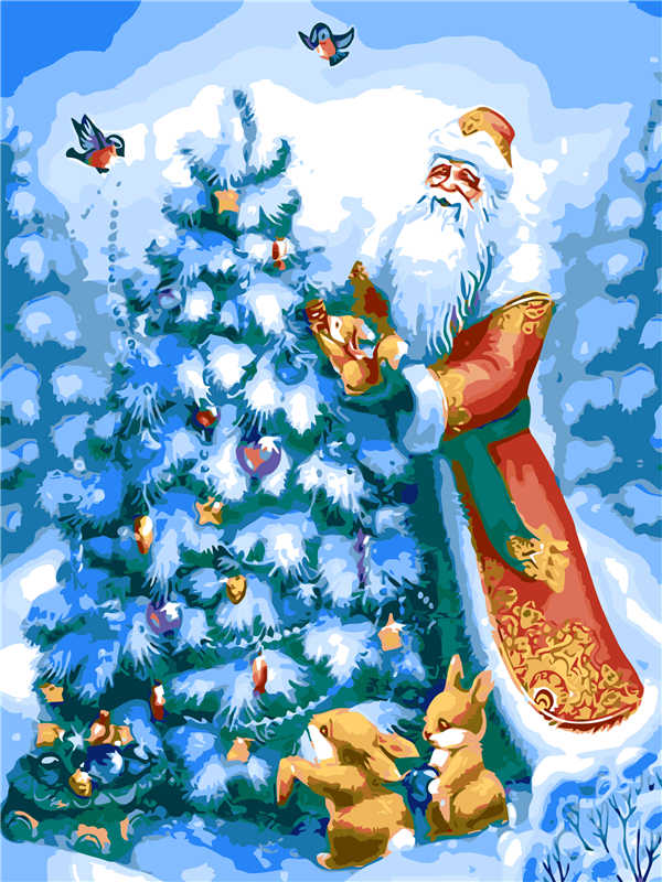 Best Pictures DIY Digital Oil Painting Paint By Numbers Christmas Birthday Unique Gift Santa Claus and Christmas tree Q516