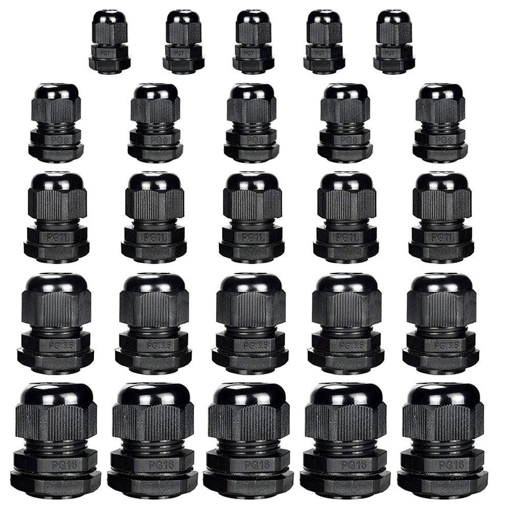 25pcs Nylon Cable Glands Waterproof Cable Gland Joints Plastic Waterproof PG7, PG9, PG11, PG13.5, PG16