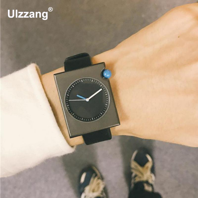 New Stylish Rectangle Dial Simple Genuine Leather Quartz Wrist Watch Wristwatches for Men Women Young Black Brown stylish golden hollow rounded rectangle hasp bracelet for women